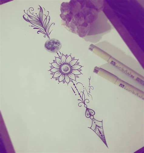 esboco  querida juliana tattoo taizane flechatattoo girassol lua lotus tattoo