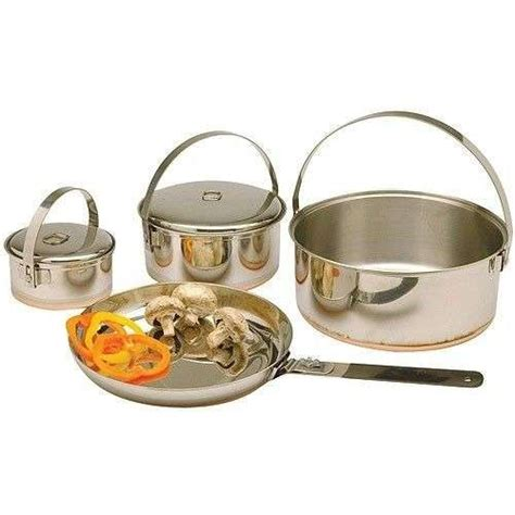 outdoor family stainless steel cook set cookware camping hiking pot fry pan  sale item