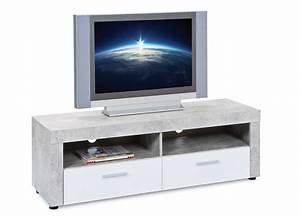 Meuble Blanc Et Gris : meuble tv gris et blanc b ton ~ Dailycaller-alerts.com Idées de Décoration