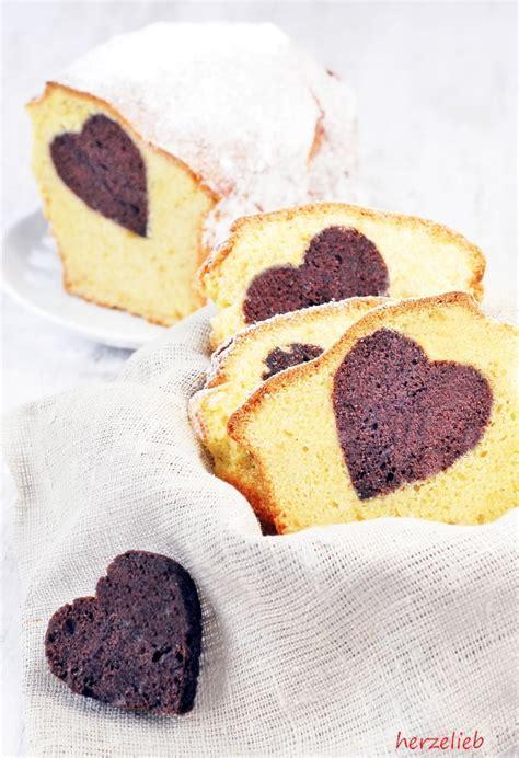 rezept einfacher sandkuchen mit einem kakaoherz herzelieb