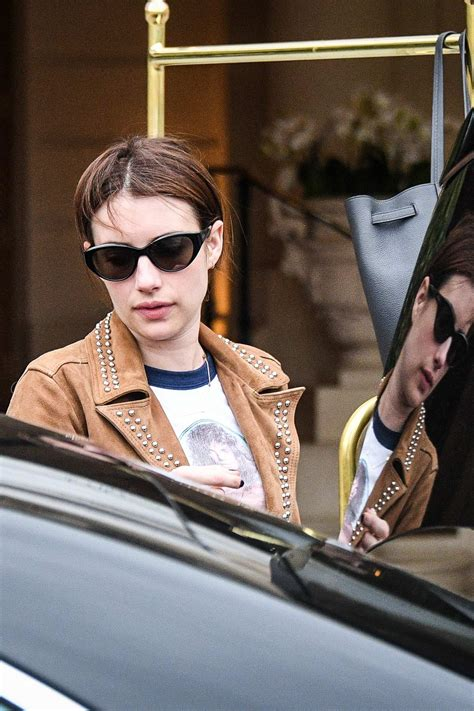 emma roberts looks lovely in a brown jacket and blue jeans ...