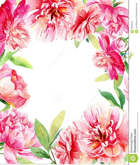 invitation card pink  red watercolor peonies stock