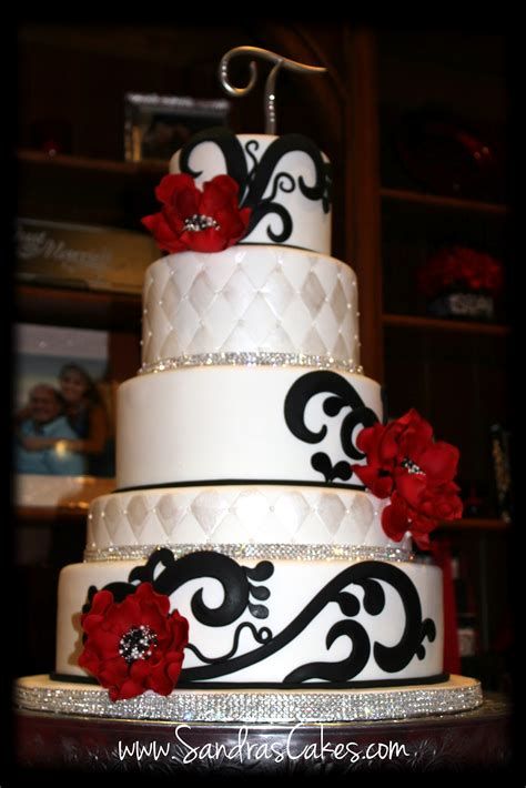 red black  white wedding cake
