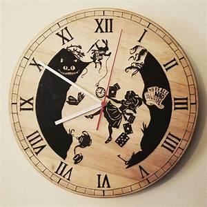 Alice, In, Wonderland, Clock, Wood