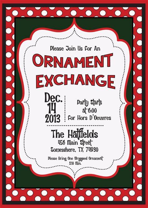 holiday christmas ornament exchange swap invitation