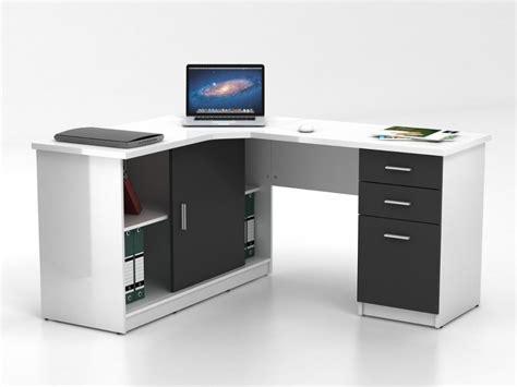 bureau angles bureau d 39 angle norwy 2 portes 2 tiroirs blanc gris