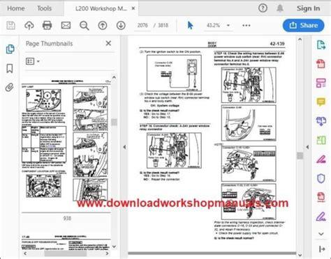 mitsubishi l200 workshop manual