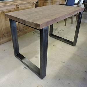 Table Haute Bois Metal : bars et comptoirs ~ Teatrodelosmanantiales.com Idées de Décoration