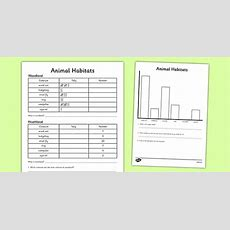 Animal Habitat Tally Chart And Graph Worksheet Activity