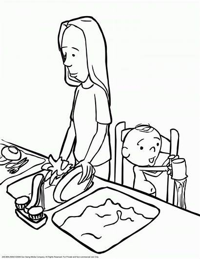 Coloring Pages Dishes Cleaning Printable Child Mamma