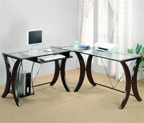 modern glass top desk clear glass top espresso base modern home office desk