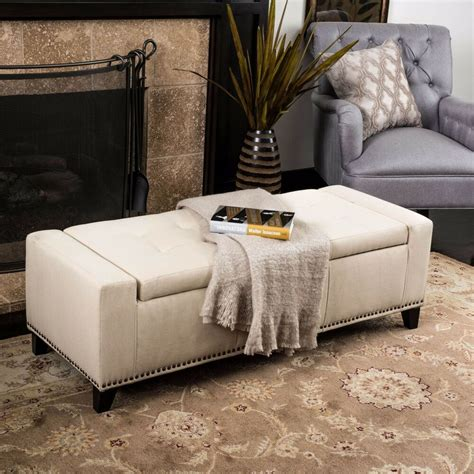 Ottoman Upholstery by Contemporary Upholstered Tufted Top Fabric Storage Ottoman