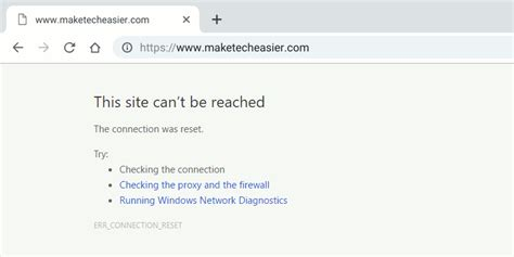 how to fix err connection reset error in chrome browser make tech easier