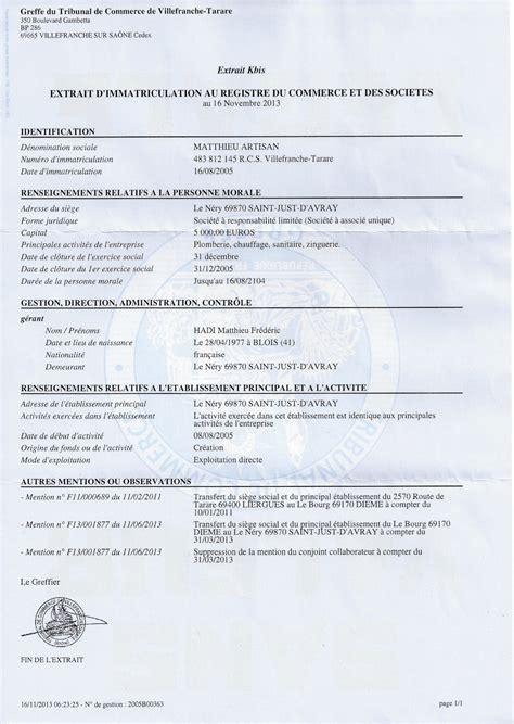 extrait kbis chambre des metiers notre structure juridique et assurances matthieu artisan