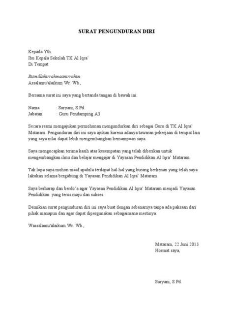 Surat Pengunduran Diri Kerja Yang Baik Dan Benar by Contoh Surat Pengunduran Diri Guru Honorer Contoh 36