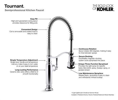 kohler tournant single handle pull  sprayer kitchen