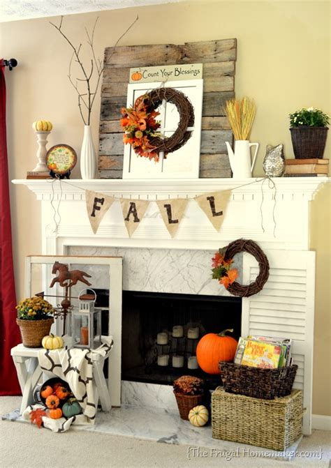 fall mantle decor fall mantel decorated with reclaimed pallet wood
