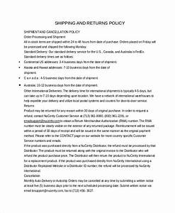 Return policy template 7 free word pdf document for Shipping and return policy template