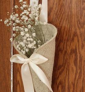khaki burlap pew cone rustic wedding decor by With burlap decorations for weddings