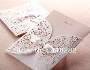 free shipping 50 pcs lot elegant white hollow lace wedding With wedding invitation cards blank inside
