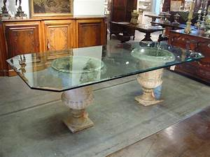 Beveled Glass Table Top on Antique French Stone Urns : Le