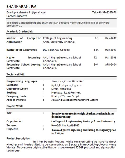 Resume Of Fresher by 10 Fresher Resume Templates Pdf