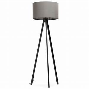 Lampe Sur Pied Scandinave : lampe sur pied de style scandinave trani en tissu gris noir ~ Teatrodelosmanantiales.com Idées de Décoration