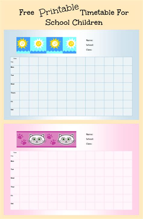 Free Printable School Timetable For Kids  Parenting Times