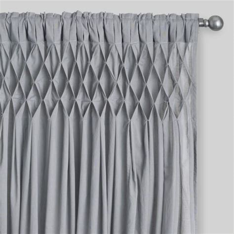 drapery world gray cotton smocked sleeve top curtains set of 2 world