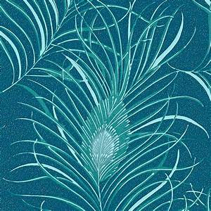 Papier Peint Intissé 4 Murs : intiss peacock coloris bleu paon bleu aqua papier peint ~ Dailycaller-alerts.com Idées de Décoration