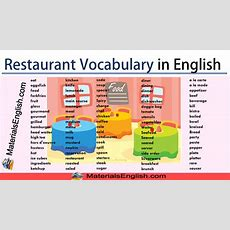 Restaurant Vocabulary In English  Materials For Learning English