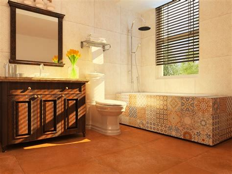 Contemporary Spanish-style #bathroom With Clay Color #tile