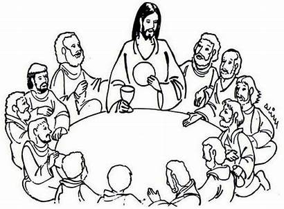 Supper Jesus Last Coloring Sharing Clipart Bread