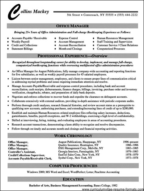 office manager resume wording free sles exles