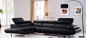Canapé D Angle Gauche : canap d 39 angle gauche cuir noir hudson ~ Teatrodelosmanantiales.com Idées de Décoration