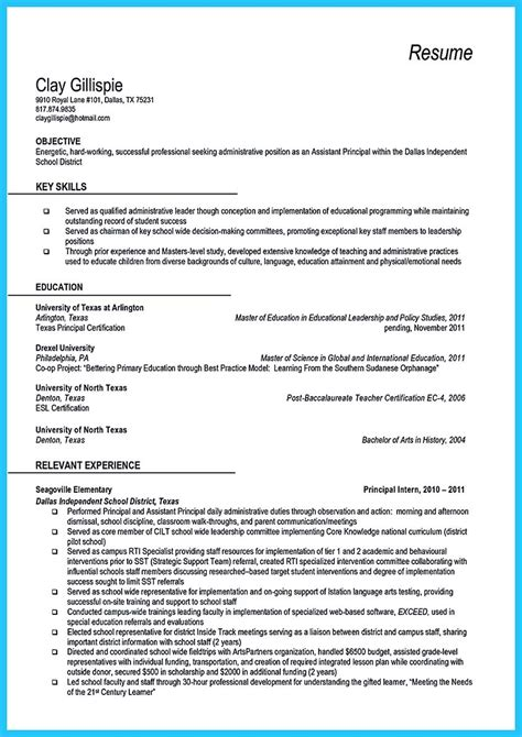effective sample  assistant principal resume