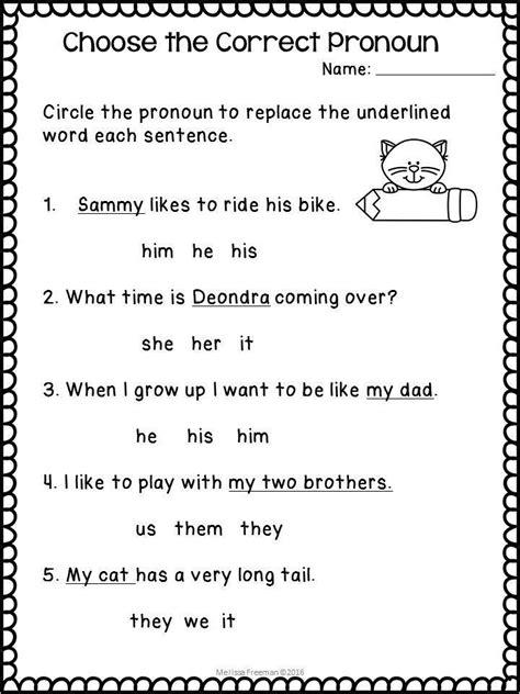 pronouns worksheets pronoun worksheets  grade