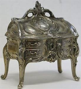 Antique Vintage Silver Plated Jewelry Casket Trinket Box With Ornate Scrolling  Art Nouveau