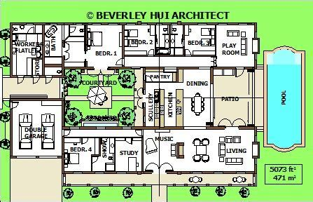 shaped house plans  pool   middle pg house