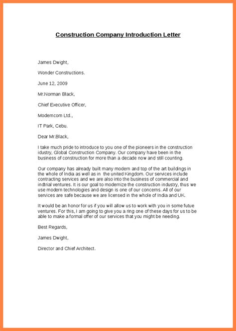 company introduction letters template 6 company introduction letter sle doc company letterhead