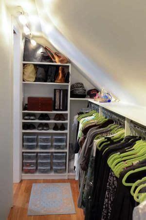 Closet Organization Ideas For Slanted Roof Attic Space by Slanted Ceiling Closet On Slanted Ceiling