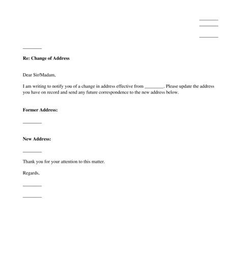 Change Of Address Letter Template  Sample Professional