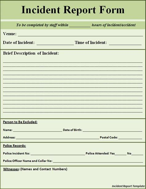 printable police report template form generic