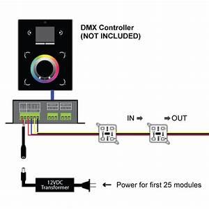 25 Digital 4 Chip Rgb Led Modules  Dmx Decoder And 60w 12v Ps