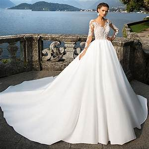 new long sleeve lace wedding dress 2017 cathedral train With long sleeve wedding dresses 2017
