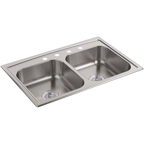 kohler d bowl sink kohler toccata drop in stainless steel 33 in 4 hole