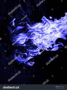 Blue Fire Over Black Background Stock Photo 593142425 ...