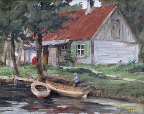 Pauls ŠPRENKS - Ainava ar māju un laivām - Izsoļu nams/galerija Jēkabs   Painting, Art, Watercolor