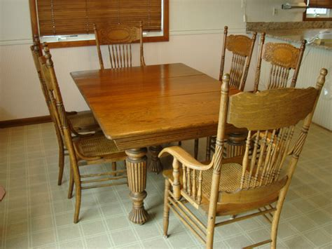 vintage oak dining room set  chairs ebay