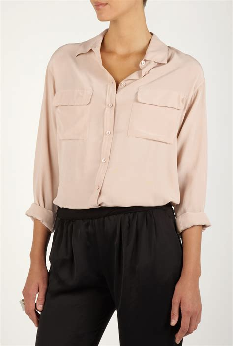 blush blouse equipment neutral signature silk blouse in pink blush lyst